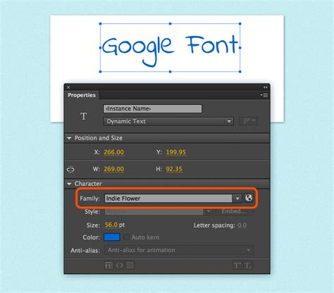 Using Google fonts in Animate CC