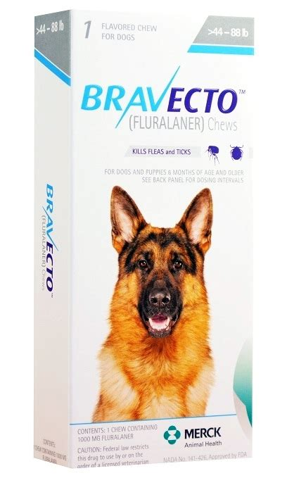 Bravecto 1000 mg for Dogs 44-88 lbs, 1 Chewable Tablet
