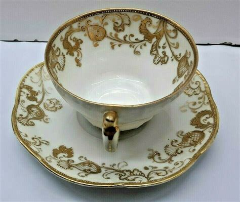 Vintage Antique Saucer Cup Gold Raise Hand Painted Nippon