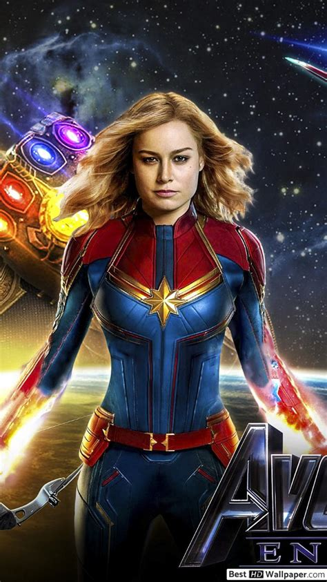 Avengers: Endgame - Captain Marvel with heroes HD