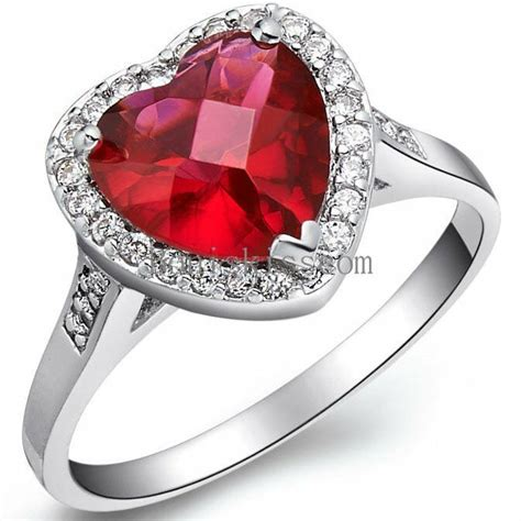 Accent Red Heart Cubic Zirconia Love Heart Engagement