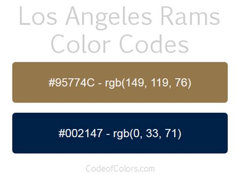Los Angeles Rams Colors - Hex and RGB Color Codes