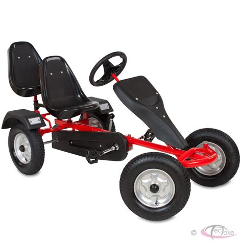 Go Kart Pedal 2 seater Ride On Car Rubber Tires red   eBay