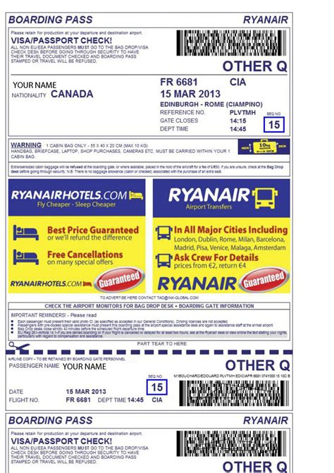 Boarding Pass – seats | RyanAir tips for travellers - Tips