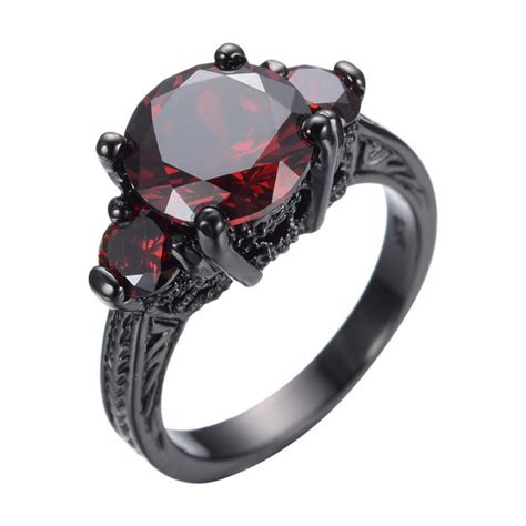 Ruby Red Austrian Crystal Gift Black Gold Filled Ring